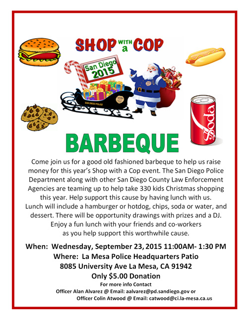 Shop with a Cop BBQ in La Mesa