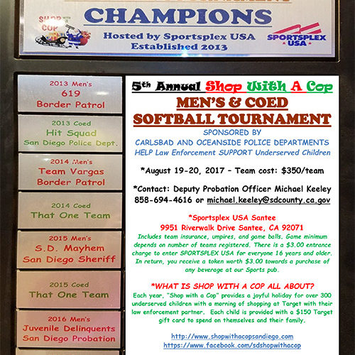 5th Annual Shop With A Cop MEN'S & COED  SOFTBALL TOURNAMENT